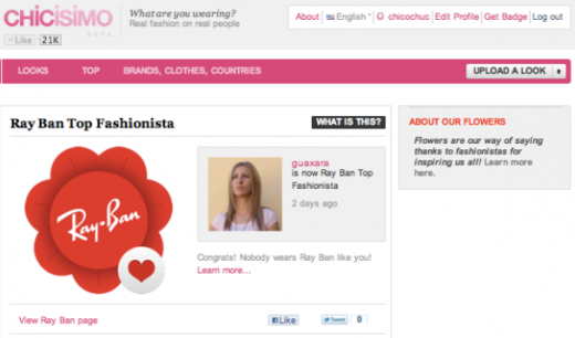 Screen shot 2011 07 20 at 08.58.04 520x306 Last.fm for fashion, Chicisimo gamifies to identify top brand advocates