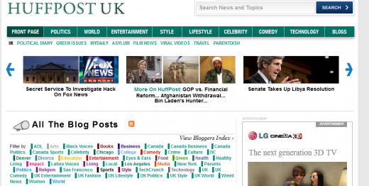 UK 1309881191911 520x262 Huffington Post UK pages go live ahead of official launch