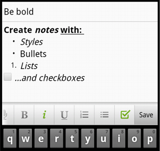 android richtext Evernote for Android Tablets released