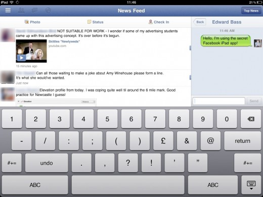 facebook ipad1 520x390 How to access the secret Facebook iPad app [Update]