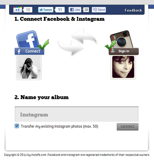 instafb1 Directly import your Instagram photos into a Facebook album with InstaFB