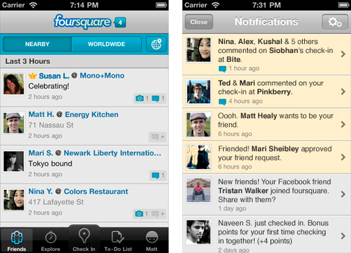 iphone notifications Foursquare brings new notifications, settings and design to the iPhone