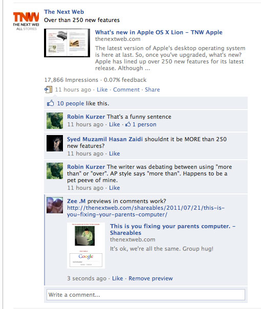 linkcomments Facebook adds link previews to comments
