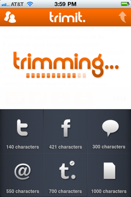 photo 44 Trimit lets you cram large bits of text easily into status updates