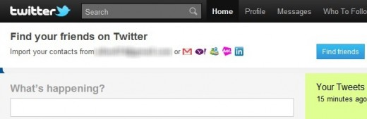 twitterbar 520x169 Twitter tests more prominent placing for Find Your Friends tool