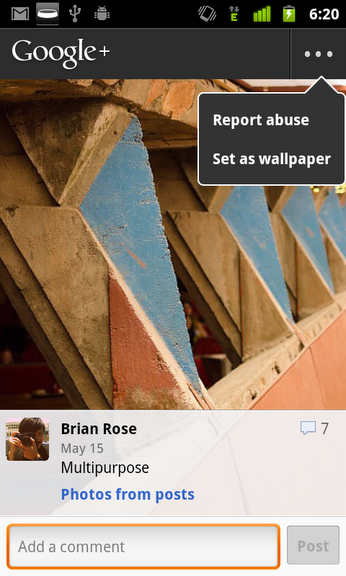 wallpaper Google+ for Android update adds new features, refines user interface