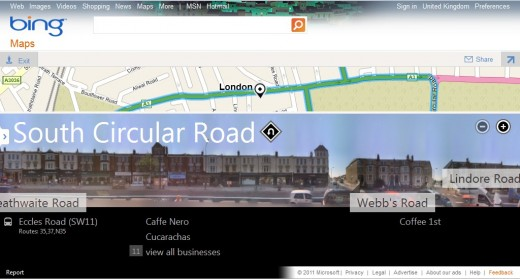 BingMaps2 520x279 Streetside, Bings answer to Google Street View, launches in the UK