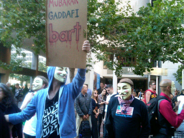 Mubarak Gadaffi Anonymous protesters go after BART. This time OFFline. [Video & Photos]