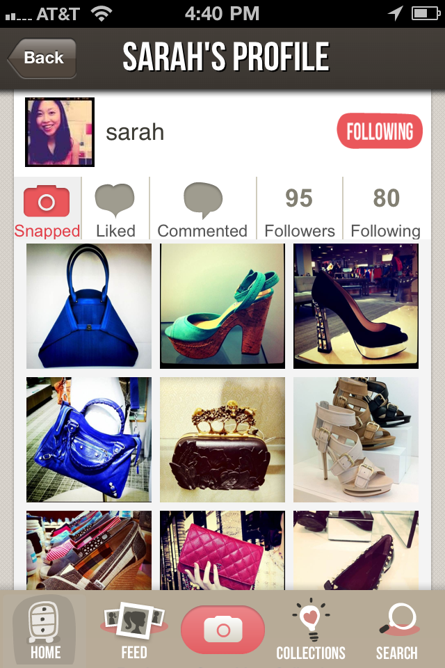 Profile screen Meet Snapette: A new app that lets you browse fashion in your area