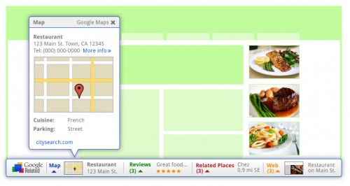 Restaurant 500x266 Google releases browser add on to surface relevant content from around the Web