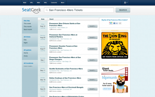 SG redesign1 520x326 SeatGeek launches a brand new design and a smart, self serve ad platform