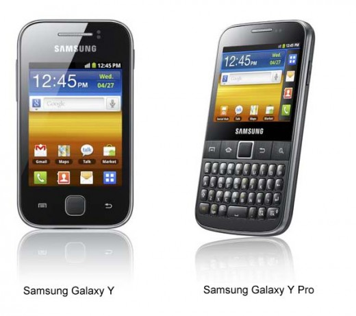 Samsung Galaxy Y Y Pro 520x461 Samsung unveils four new Galaxy smartphones, debuts new naming policy