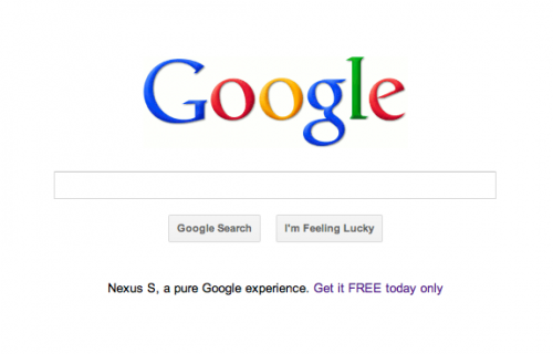 Screen Shot 2011 08 03 at 9.15.22 AM 500x320 Google is advertising a free Nexus S on its homepage
