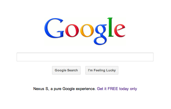 Google is advertising a 'free' Nexus S on its homepage