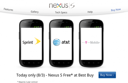 Screen Shot 2011 08 03 at 9.15.39 AM 500x325 Google is advertising a free Nexus S on its homepage