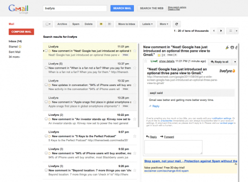 Screen Shot 2011 08 04 at 23.03.14 500x366 Neat! Google has just introduced an optional three pane view to Gmail.