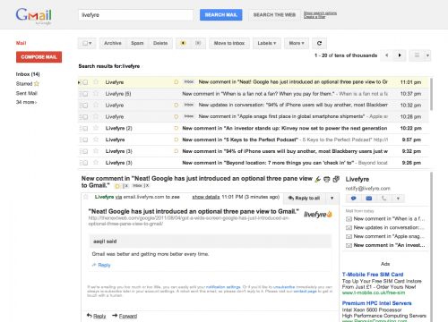 Screen Shot 2011 08 04 at 23.04.40 500x360 Neat! Google has just introduced an optional three pane view to Gmail.