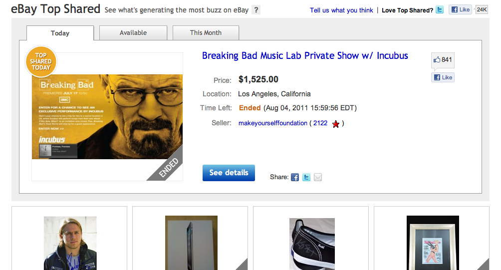 eBay now has a section for the most re-tweeted and liked products on its site