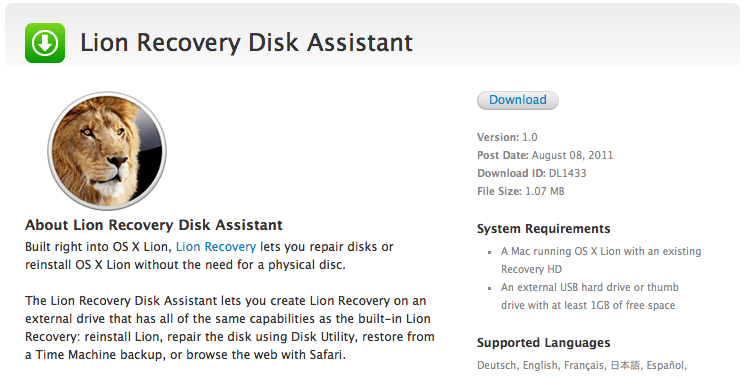 Apple releases Lion Recovery Disk Assistant