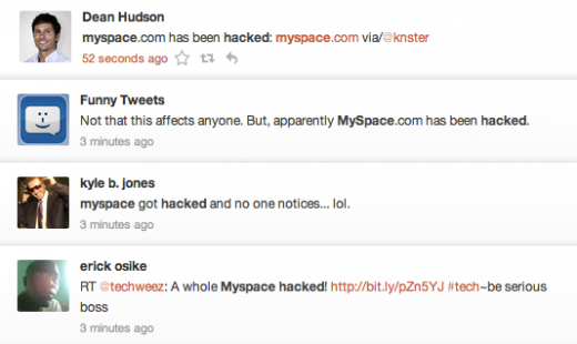 Screen Shot 2011 08 12 at 07.41.15 520x310 MySpace goes down, visitors confuse error message with hack