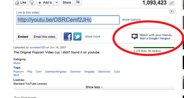 Screen Shot 2011 08 18 at 23.52.49 With one click on YouTube you can now watch videos with your friends on Google+