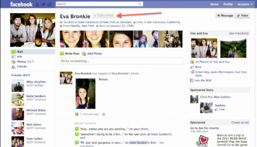 Screen Shot 2011 08 23 at 1.57.57 PM 520x297 Facebook still testing a Subscribe feature for profiles, spotted in video demo