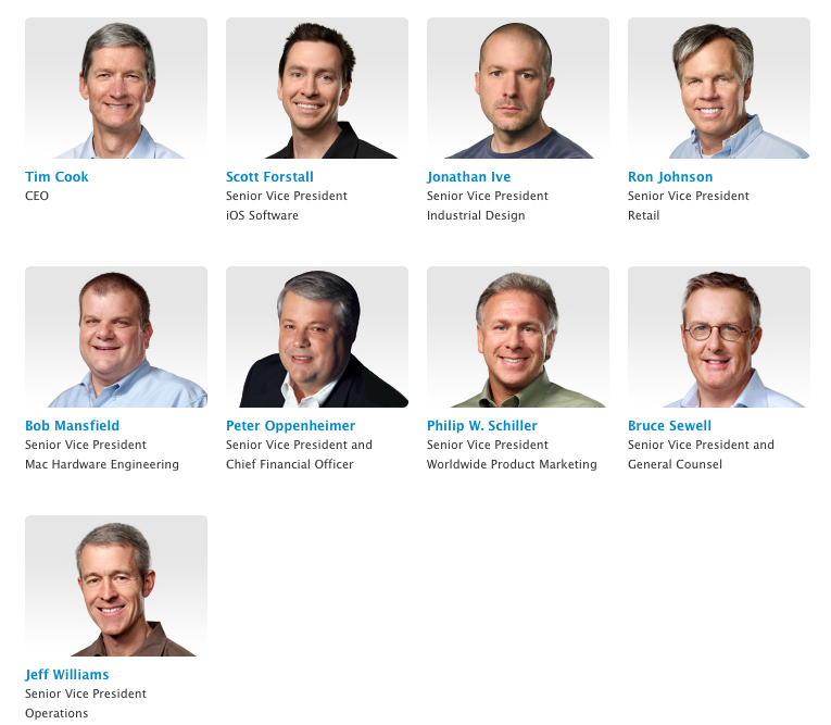 Apple posts new official executive organization chart