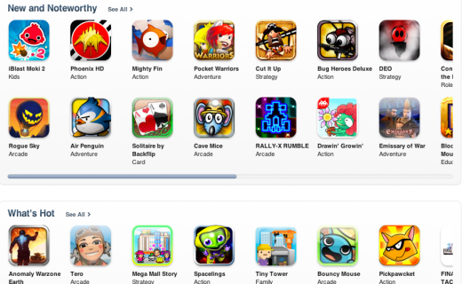 Screen Shot 2011 08 25 at 1.03.00 PM 520x320 Apple rolling out new App Store category home pages