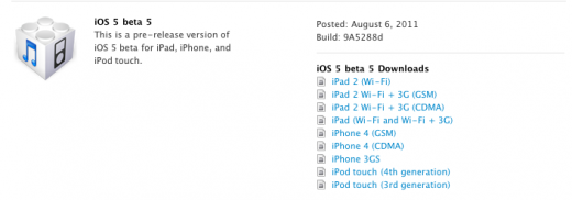 Screen shot 2011 08 06 at 10.24.54 AM 520x182 Apple releases iOS 5 Beta 5, iTunes 10.5 Beta 5, Xcode 4.2 DP 5 and Apple TV iOS beta 4
