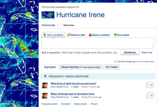 Screen shot 2011 08 26 at 6.08.38 PM 520x354 New community powered support network launches for Hurricane Irene