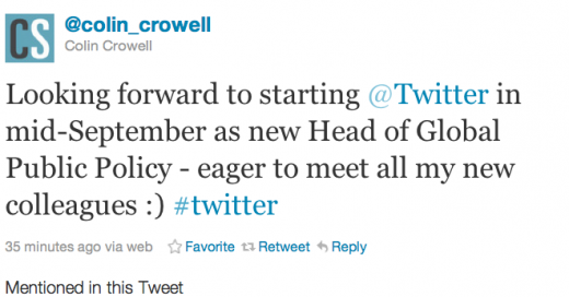 Screen shot 2011 08 29 at 5.39.31 PM 520x272 Twitter hires former top FCC aide as new Head of Global Public Policy