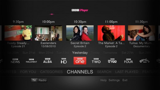 SelectChannel 520x292 The BBC launches a new TV friendly version of iPlayer