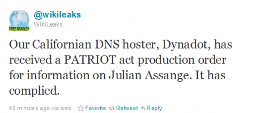 WikiTweet 520x228 Wikileaks DNS host ordered to give information on Julian Assange