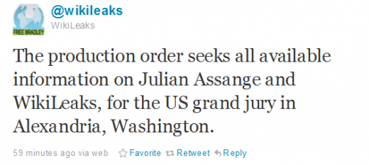 WikiTweets1 520x233 Wikileaks DNS host ordered to give information on Julian Assange