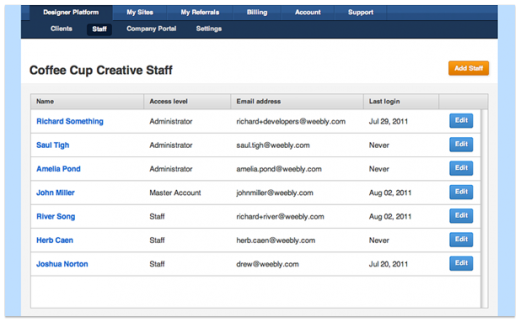 addstaffmembers screen 520x322 Weeblys powerful WYSIWYG site builder gets a white label option for designers