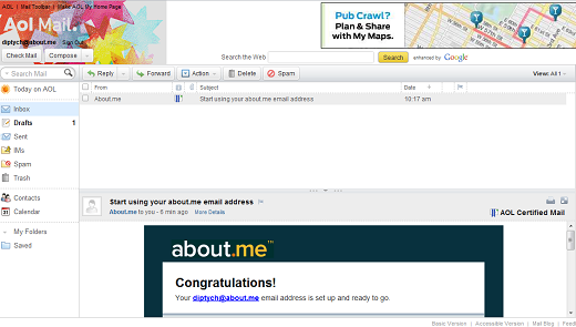 aol About.me rolls out branded email addresses to its users