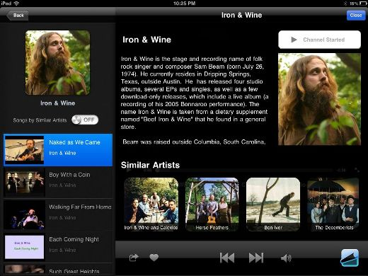 artist MusicTandem: Pandora for your iPad