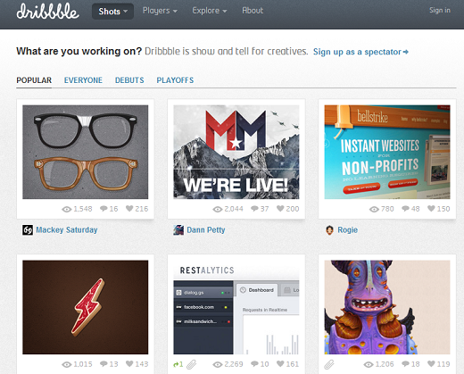 dribbble A Guide to Online Inspiration for Writers, Photographers and Designers