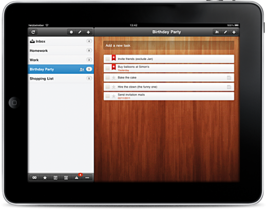 iPad 520x409 Elegant cross platform to do list service Wunderlist hits 1 million unique users