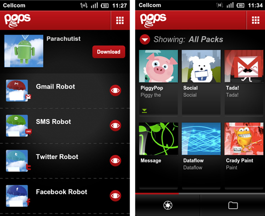 packs Pops: Jazzed up message notifications for Android