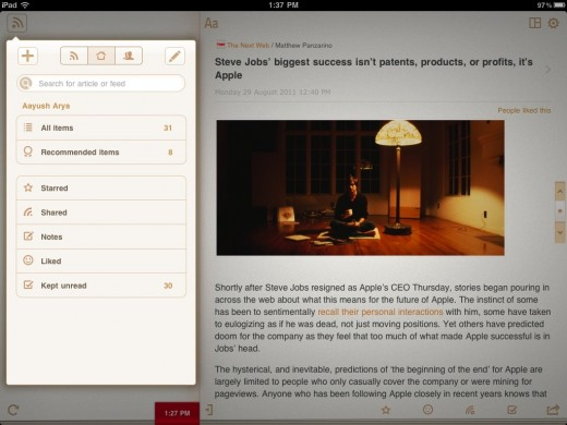 perfect rss reader 11 520x390 Review: Perfect RSS Reader brings the full Google Reader experience to the iPad