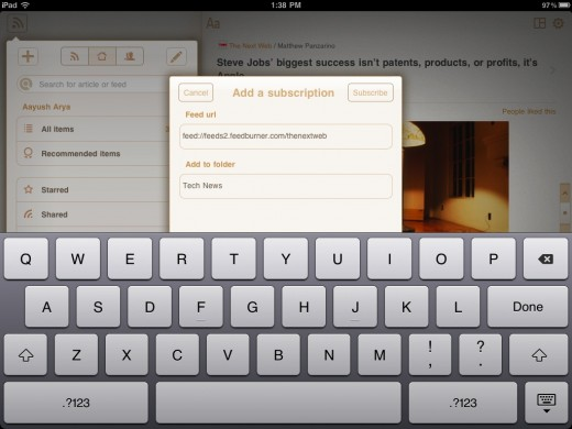 perfect rss reader 2 520x390 Review: Perfect RSS Reader brings the full Google Reader experience to the iPad