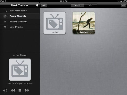 recent MusicTandem: Pandora for your iPad