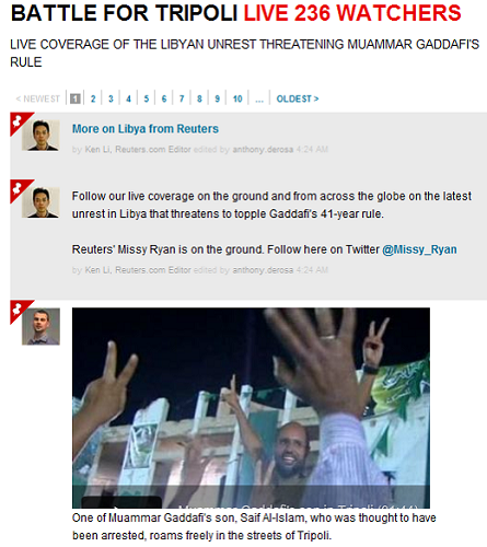 reuters Where to go for trusted Web coverage of the Libyan uprising