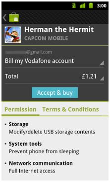 Android operator billing comes to Europe, Vodafone the first to launch