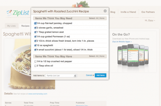 Add Recipe to Shopping List 520x343 ZipList, the ultimate online recipe box launches a new share button