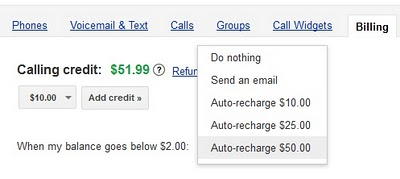 AutoRecharge Google Voice lets you top up automatically with auto recharge