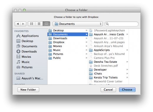 Choose a Folder 520x382 How to use Dropbox to sync your Documents folder between Macs for free