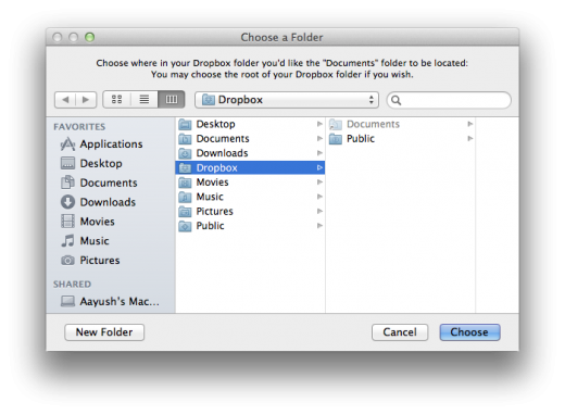 Choose a Folder1 520x382 How to use Dropbox to sync your Documents folder between Macs for free