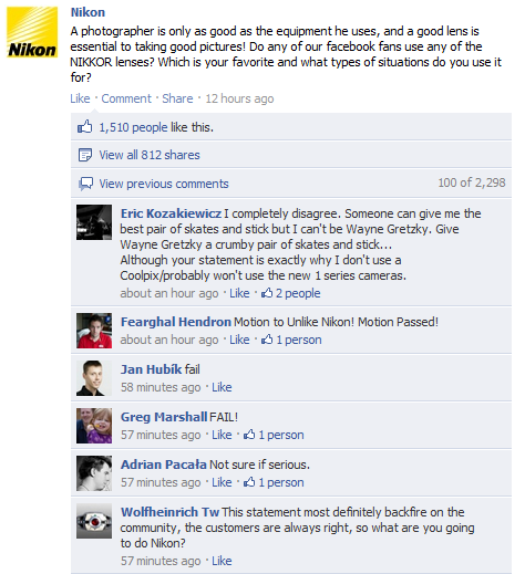 Nikon Nikons Facebook page is blowing up with comments. But not for the right reasons